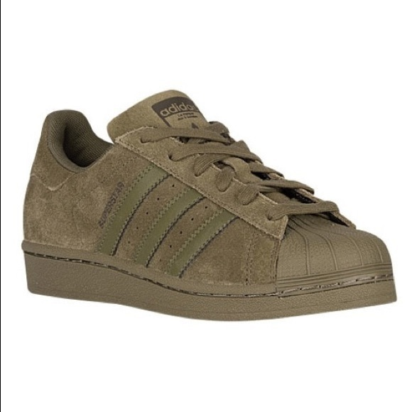 adidas Shoes | Green Suede Superstars